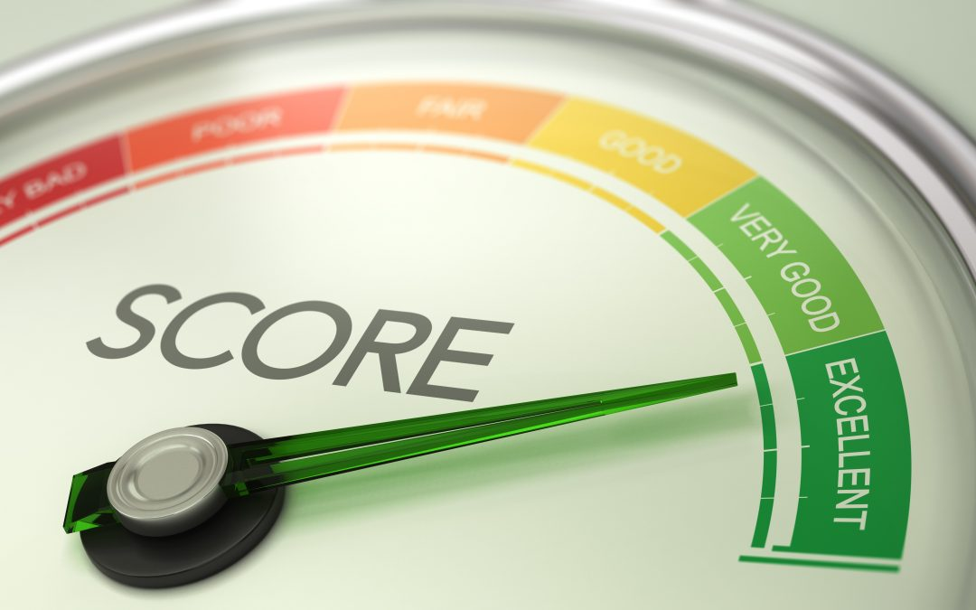 Business Credit Score Gauge Concept